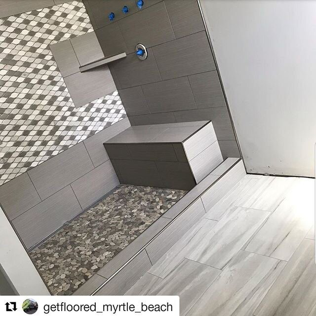 We're bringing you this one from our friends in beautiful Myrtle Beach, Jacob White and his company @getfloored_myrtle_beach! ⁠ ⁠ Thanks for letting us share so we can show clients the possibilities!⁠ ⁠ The Schluter profiles give it a nice look and the lifetime waterproofing warranty sure can't be beat!