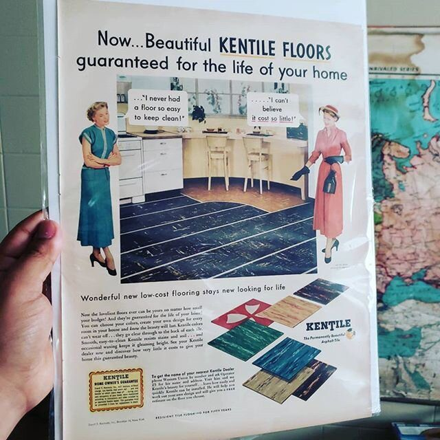 This advertisement from the 1950s will go beautifully with our 100 year old Post WWI Map of Europe.  At one point, asbestos tiles were considered to be the bees knees. 😅