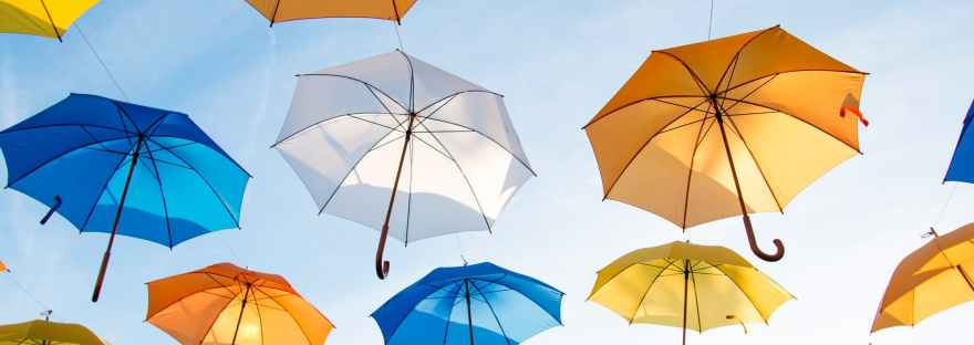 umbrellas art flying