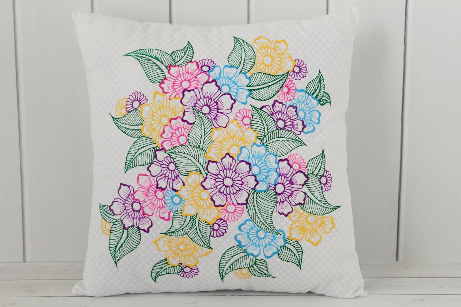 Floral Throw Pillow  Henna Art Pillows  Lavender Henna