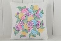 Floral Throw Pillow - Henna Art Pillows - Lavender Henna
