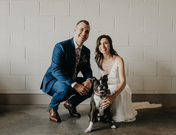 Groom, Bride and Dog at wedding