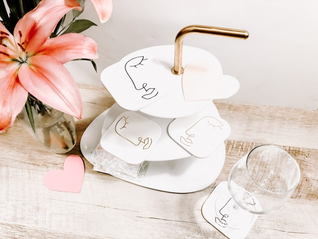 DIY Abstract face coasters
