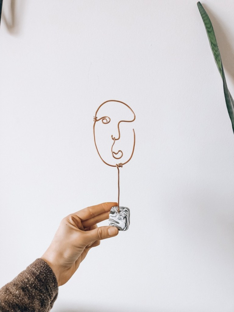 DIY copper Wire Abstract Face Sculpture with marble base