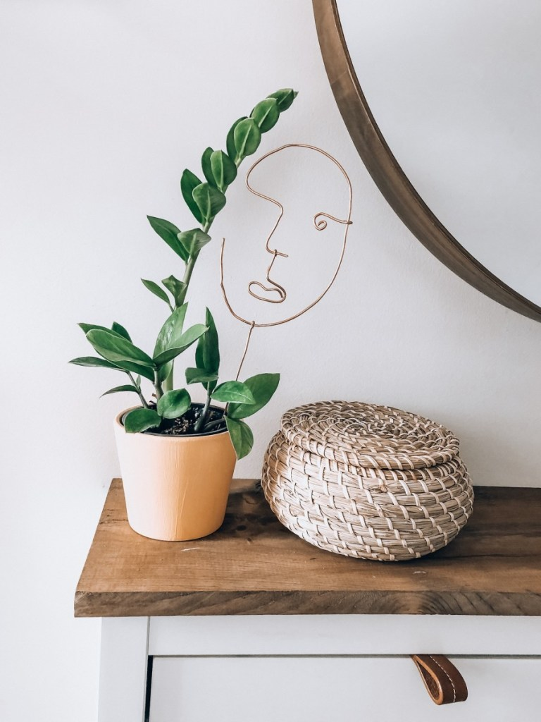 DIY copper Wire Abstract Face Sculpture + Plant Stake