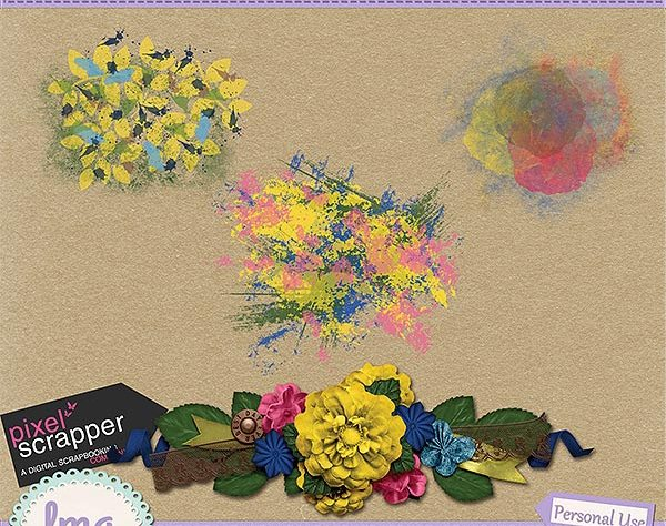 Digital Scrapbook Paint Splatter and Cluster