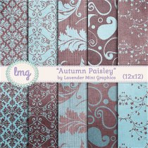 Paisley Damask Digital Paper