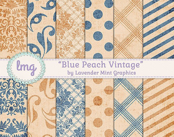 Blue and Peach Digital Scrapbook Paper