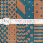 Brown and Teal Shabby Paper Packs