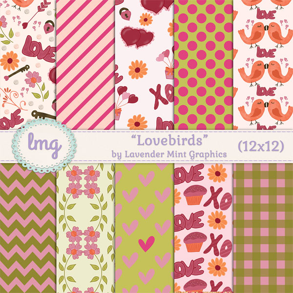Lovebirds Valentines Day Digital Papers