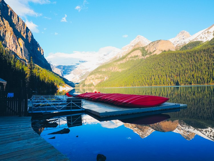 Canoeing - Visiting Lake Louise, Banff National Park, Alberta Canada
