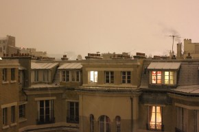 The snowy rooftops from one of our courtyard windows.