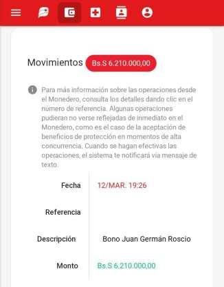 monto del bono Juan Germán Roscio