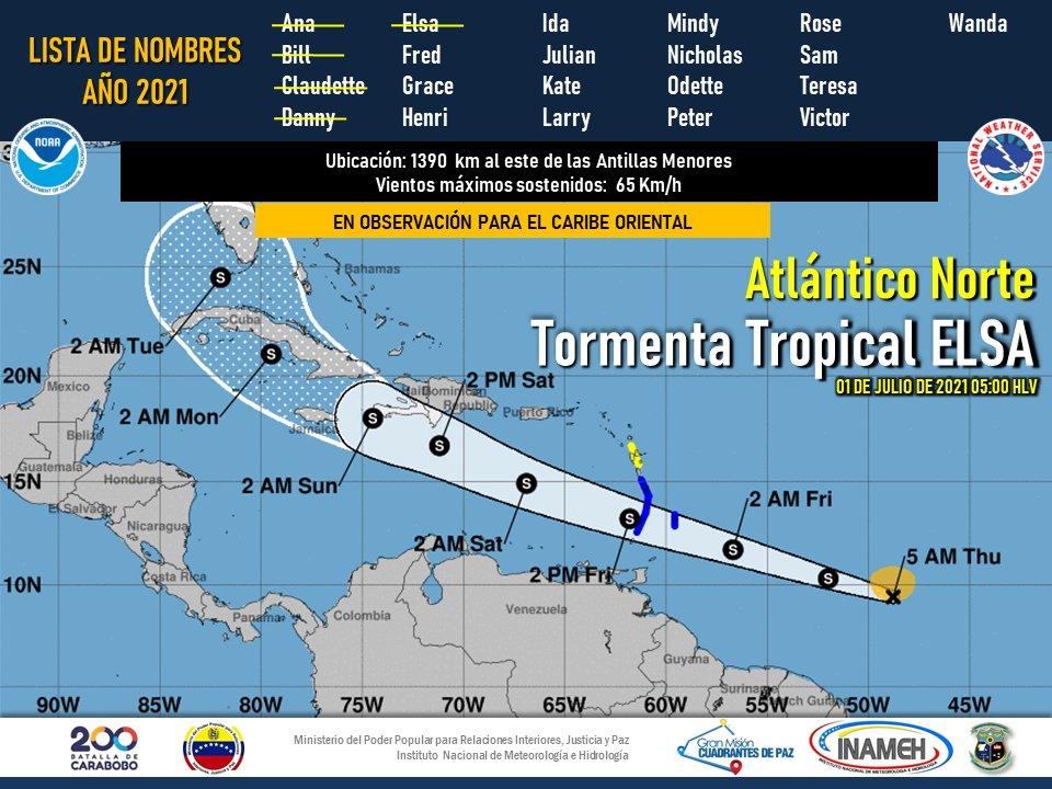 Inameh emite vigilancia por formación de tormenta tropical Elsa