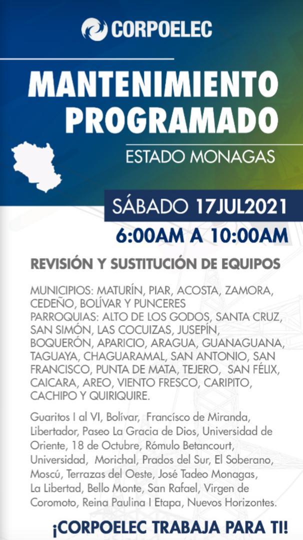 siete municipio se quedaran sin electricidad por cuatro horas este sabado laverdaddemonagas.com indice
