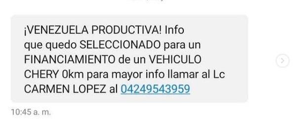 vehículo de Venezuela Productiva es una estafa
