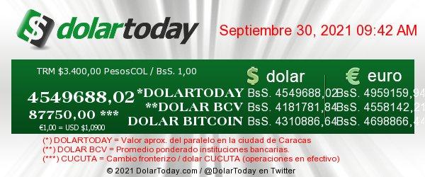 dolartoday en venezuela precio del dolar jueves 30 de septiembre de 2021 laverdaddemonagas.com dolar today