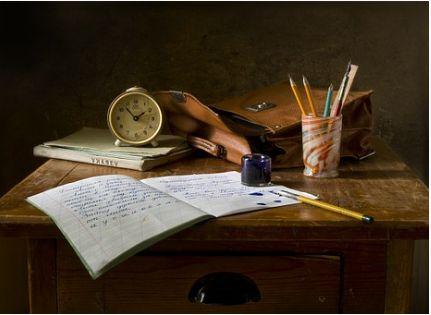 机の上と古書