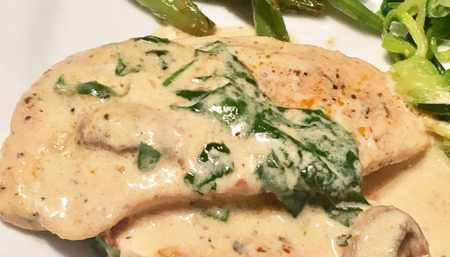 Creamy Parmesan Garlic Chicken with Spinach and Mushroom