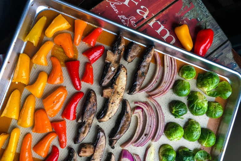 Colorful vegetables on sheet pan