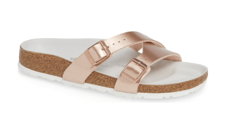 Yao Rose gold Metallic Slide Sandal by Birkenstock