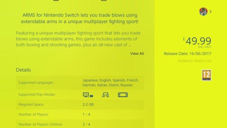 Peso de ARMS nintendo Switch la vida es un videojuego.jpg
