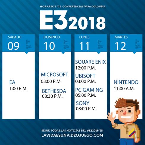 Horarios_conferencias_Colombia_E3_2018_La vida es un videojuego