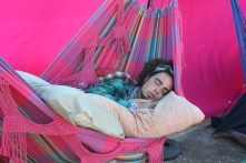 Jesse in the hammock cocoon
