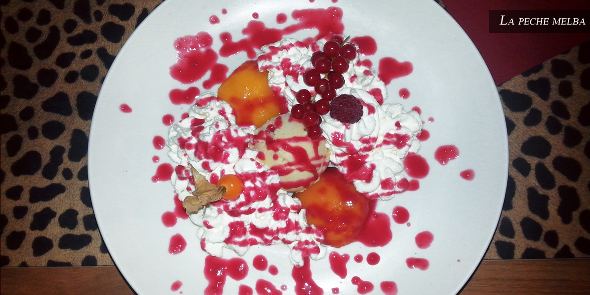 peche melba - farandole desserts- restaurant l'affiche