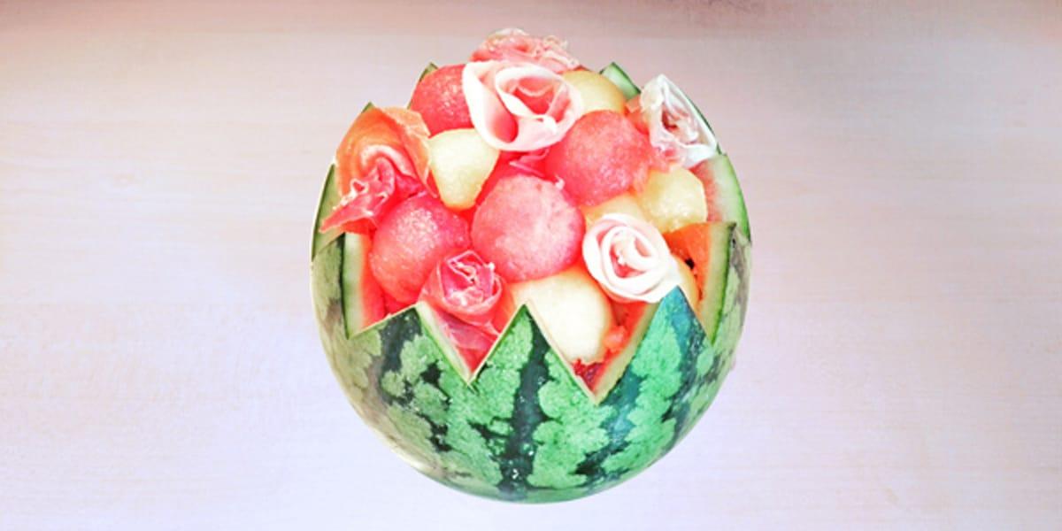 Salade de pastèque – melon – jambon ibérique