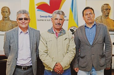 Concejales, Omar Rodríguez, Luis Fernando Cely y Álvaro Pachón. Nueva mesa directiva del Concejo Municipal de Ubaté. La Villa.
