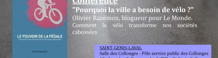 Saint Genis Laval accueille Olivier Razemon pour sa conférence  «Pourquoi la ville a besoin de vélo ?»