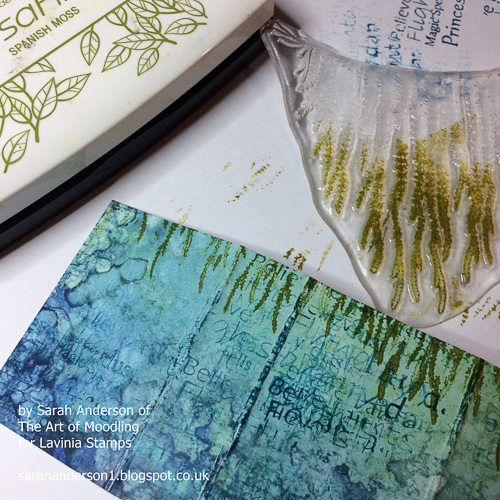 004 Ink up 'Forest Spruce' with Versafine: Spanish Moss and stamp it towards the top of your card.