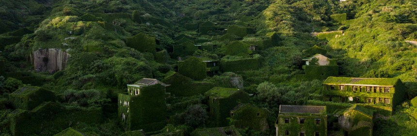 This picture taken on June 1, 2018 shows abandoned village houses covered with overgrown vegetation in Houtouwan on Shengshan island, China's eastern Zhejiang province.   Houtouwan was a thriving fishing community of sturdy brick homes that climb up the steeply hilled island of Shenghshan, but is now abandoned, with entire houses completely overgrown as if vacuum-sealed in a lush layer of green.  / AFP PHOTO / Johannes EISELE