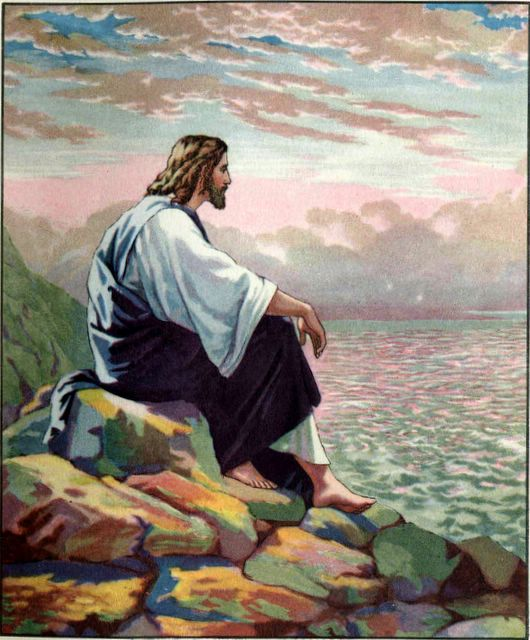 Image result for Pictures of Jesus sitting on a mountain side