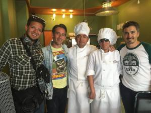 The With a Smile Films Team with La Diosa´s chef Martínez and Mauri Ortega.