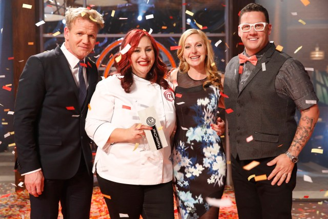 """MASTERCHEF: Claudia (L) wins MASTERCHEF in the all-new """"Team Gordon Ramsay/The Finale"""" two-hour season finale episode of MASTERCHEF airing Wednesday, Sept. 16 (8:00-10:00 PM ET/PT) on FOX.  Pictured L-R: Gordon Ramsay, Claudia, Christina Tosi and Graham Elliot. CR: Greg Gayne / FOX. © 2015 FOX Broadcasting."""