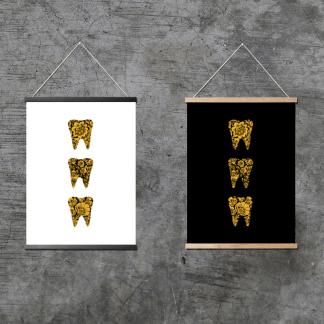"""""""Узорные зубы: золотая хохлома"""" на серой стене"""
