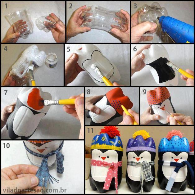 Palline per l'albero di natale con plastica riciclata | un. Lavoretti Di Natale Per Bambini Pinguini Con Bottiglie Lavoretti Per Bambini