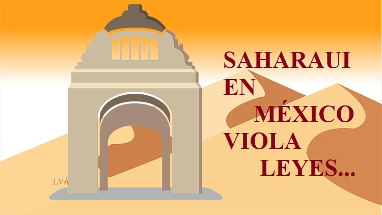 Saharaui en monumento Revolución