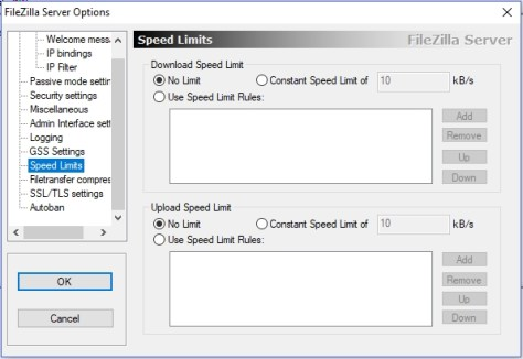 filezilla server - speed limits