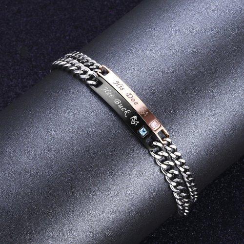His Doe Her Buck Couple Bracelets Stainless Steel 3