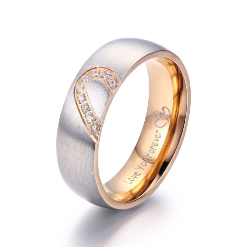 2Pcs Promise Rings For Couples Love You Forever Matching Heart 3