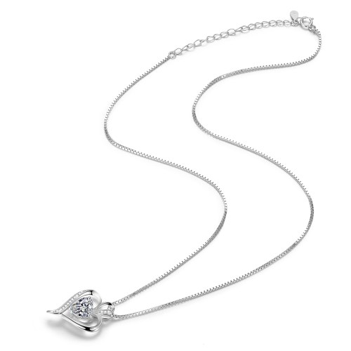 Heart CZ Necklace for Women High Polished 2