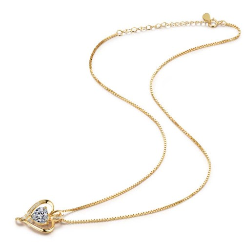 Gold Plated Heart CZ Necklace for Women High Polished 2