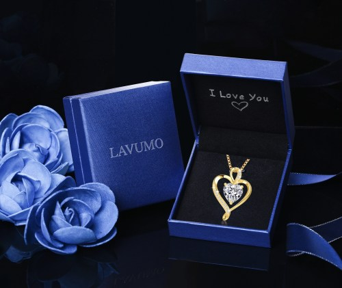 Gold Plated Heart CZ Necklace for Women High Polished 3