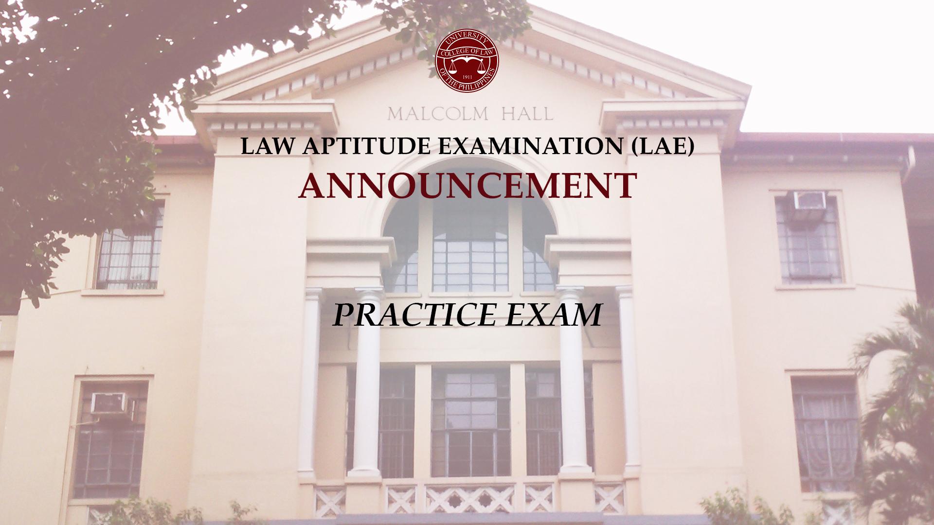 Law Aptitude Examination Practice Exam