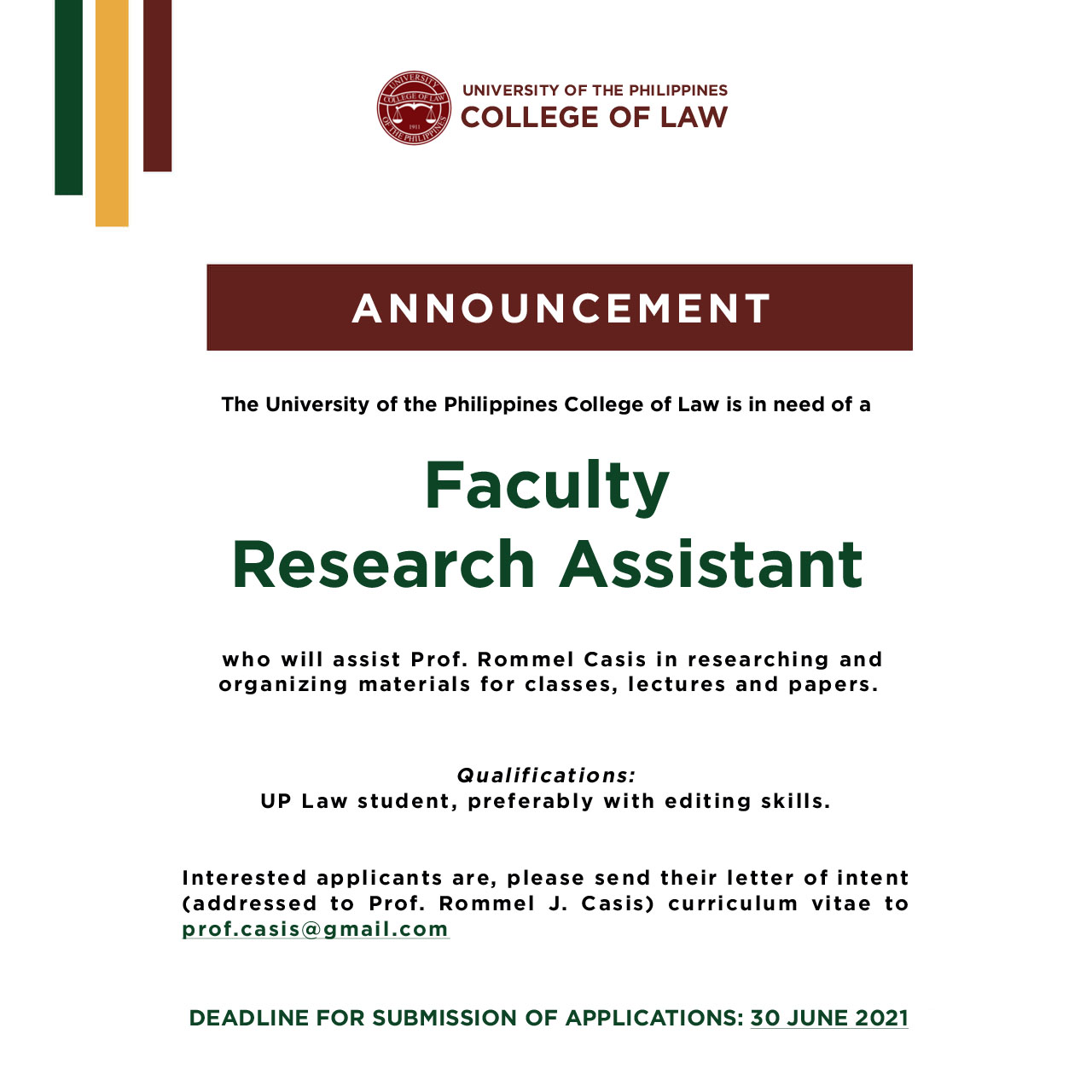 Announcement Looking for Faculty Research Assistants.