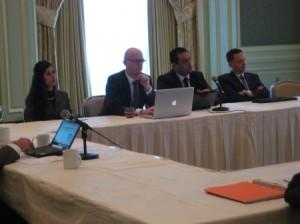 From left to right: Sara Burhan Abdullah, Andrew Allen, Muayyad Al-Chalabi (far right)