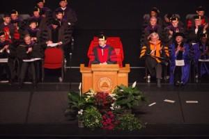 Hiram Chodosh, dean of S.J. Quinney College of Law, addresses the graduating class